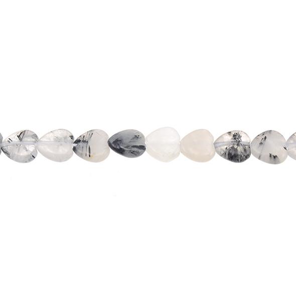 Hair Quartz Heart Puff 10mm x 10mm x 4mm - Loose Beads