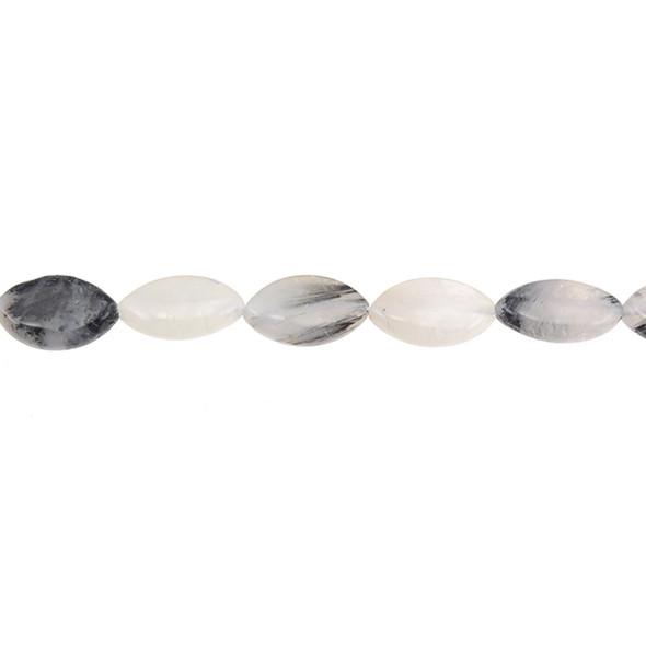 Hair Quartz Marquise Puff 10mm x 16mm x 5mm - Loose Beads