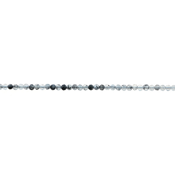 Hair Quartz Round Faceted Diamond Cut 2mm - Loose Beads