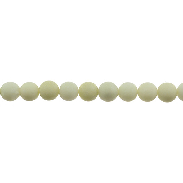 Ivory Jade Round Frosted 10mm - Loose Beads