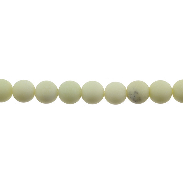 Ivory Jade Round Frosted 12mm - Loose Beads