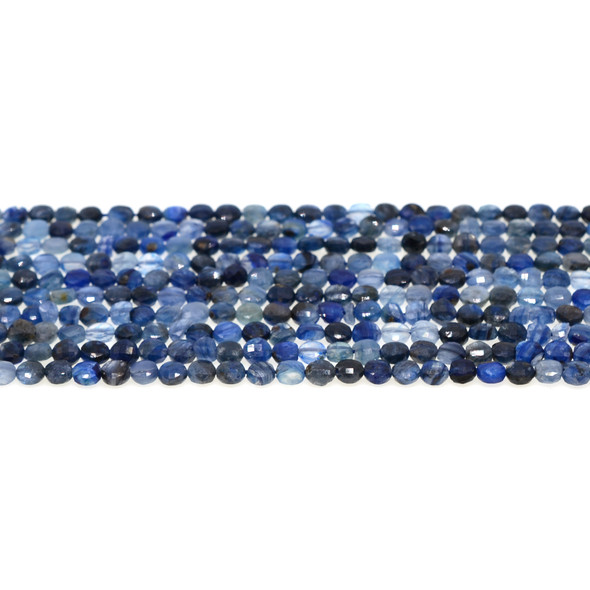 Kyanite Coin Puff Faceted Diamond Cut 4mm x 4mm x 2mm - Loose Beads