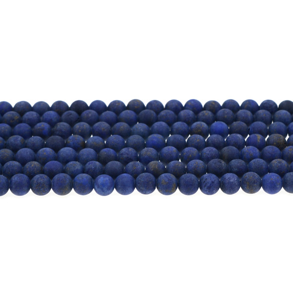 Color Enhanced Lapis Round Frosted 6mm - Loose Beads