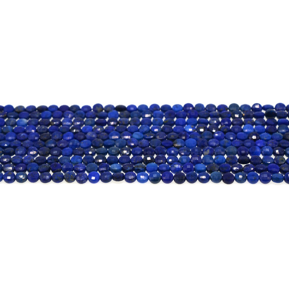 Natural Lapis A Coin Puff Faceted Diamond Cut 4mm x 4mm x 2mm - Loose Beads