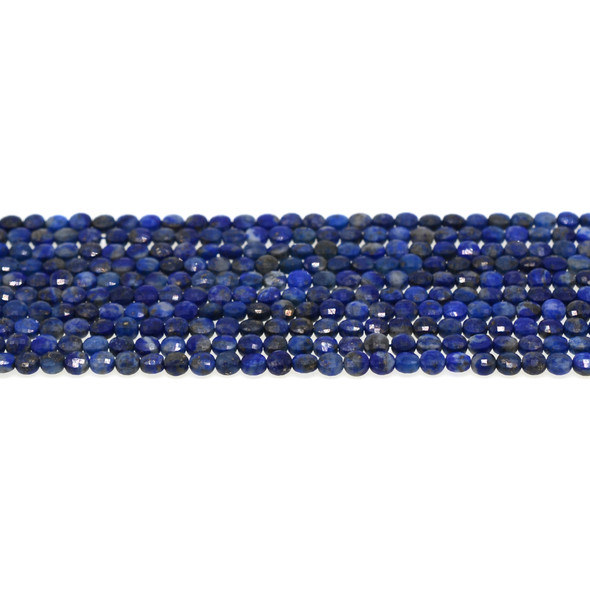 Natural Lapis AB Coin Puff Faceted Diamond Cut 4mm x 4mm x 2mm - Loose Beads