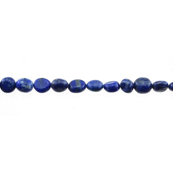 Natural Lapis Oval Puff Irregular 6mm x 8mm x 3mm - Loose Beads