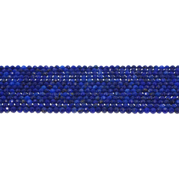 Natural Lapis Round Faceted Diamond Cut 3mm - Loose Beads
