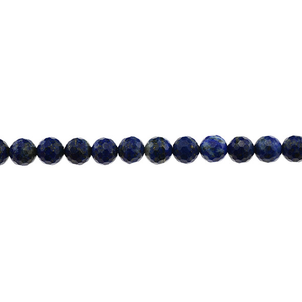 Natural Lapis AB Round Faceted Diamond Cut 8mm - Loose Beads