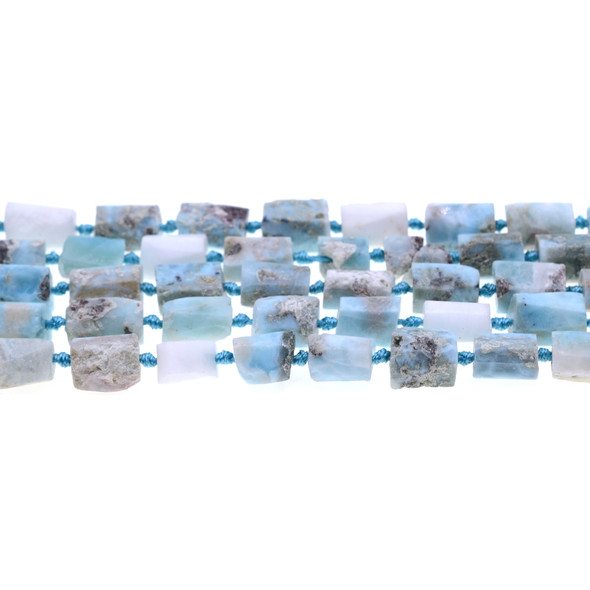 Larimar Hexagone Prism Frosted Irregular 8mm x 8mm x 10mm - Loose Beads
