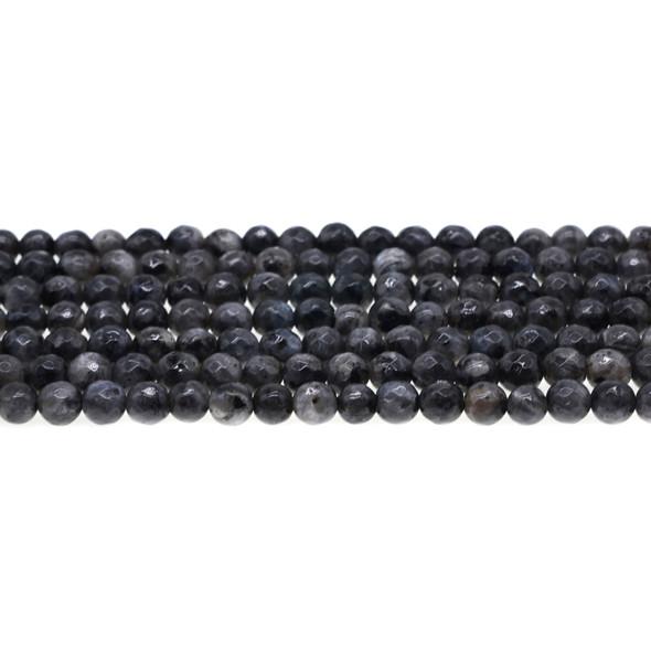 Larvikite Black Labradorite Round Faceted 6mm - Loose Beads