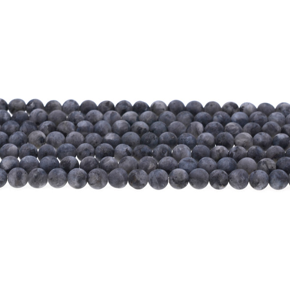 Larvikite Black Labradorite Round Frosted 6mm - Loose Beads