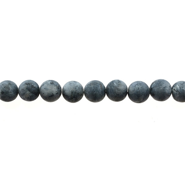 Larvikite Black Labradorite Round Frosted 10mm - Loose Beads