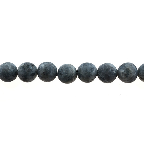Larvikite Black Labradorite Round Frosted 12mm - Loose Beads