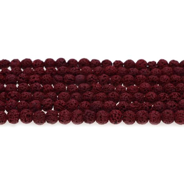 Burgundy Lava Round 6mm - Loose Beads