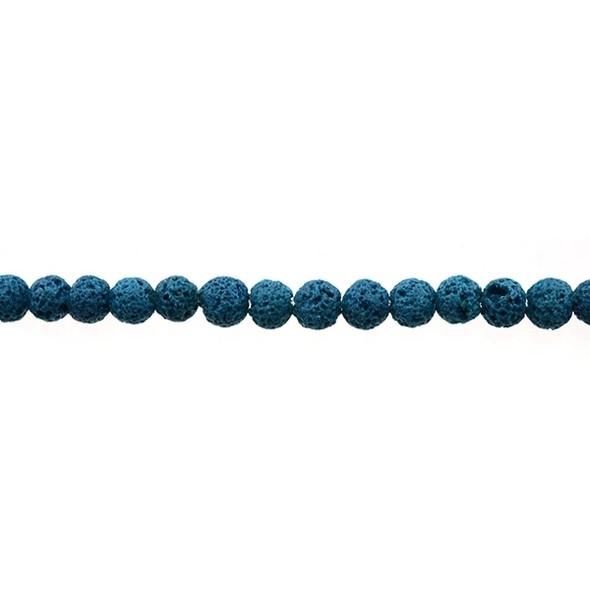 Blue Zircon Lava Round 6mm - Loose Beads
