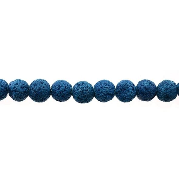 Blue Zircon Lava Round 10mm - Loose Beads