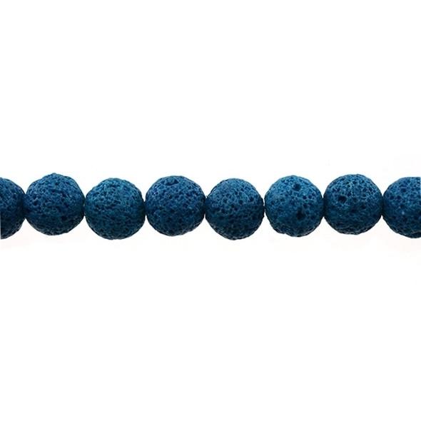 Blue Zircon Lava Round 12mm - Loose Beads