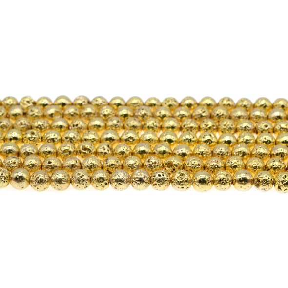 Gold Plated Lava Rock Round 6mm - Loose Beads