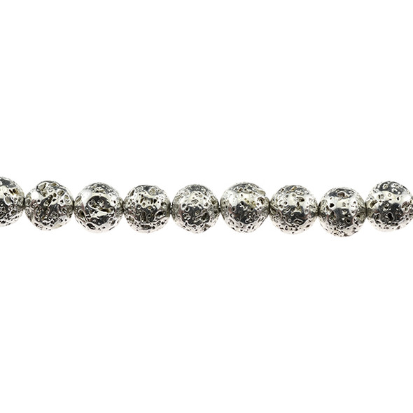 Silver Plated Lava Rock Round 10mm - Loose Beads