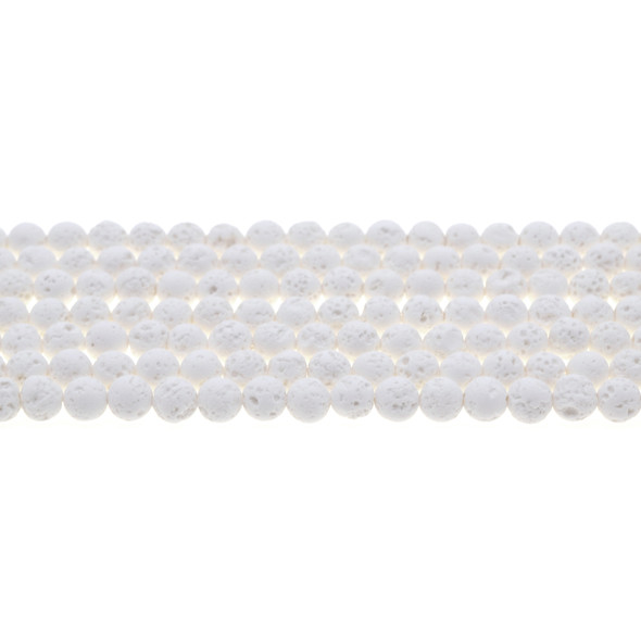 White Lava Round 6mm - Loose Beads