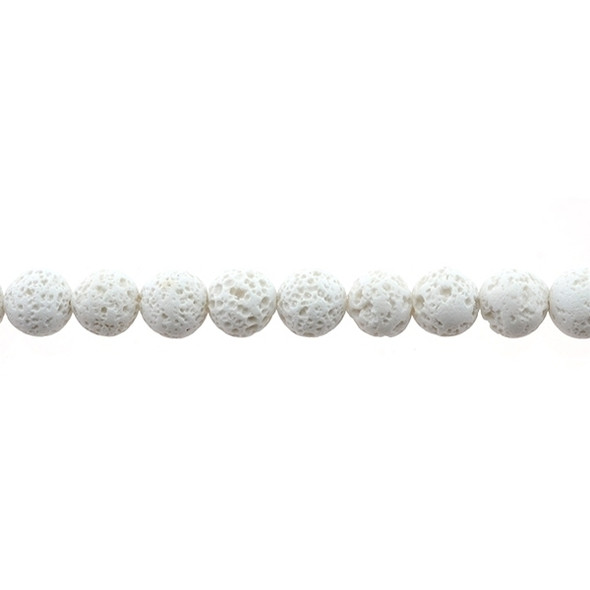 White Lava Round 10mm - Loose Beads