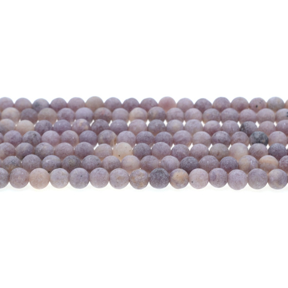 Lepidolite AB Round Frosted 6mm - Loose Beads