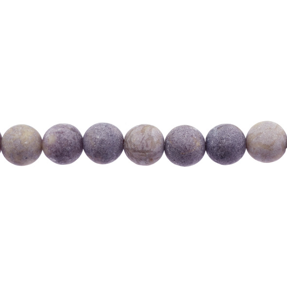 Lepidolite AB Round Frosted 12mm - Loose Beads