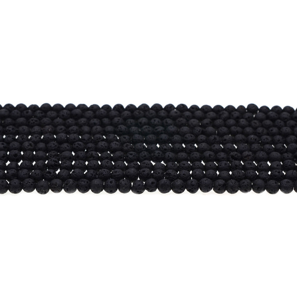 Black Lava Round 4mm - Loose Beads