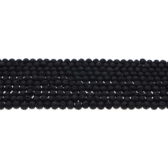 Black Lava Round 4mm - Loose Beads