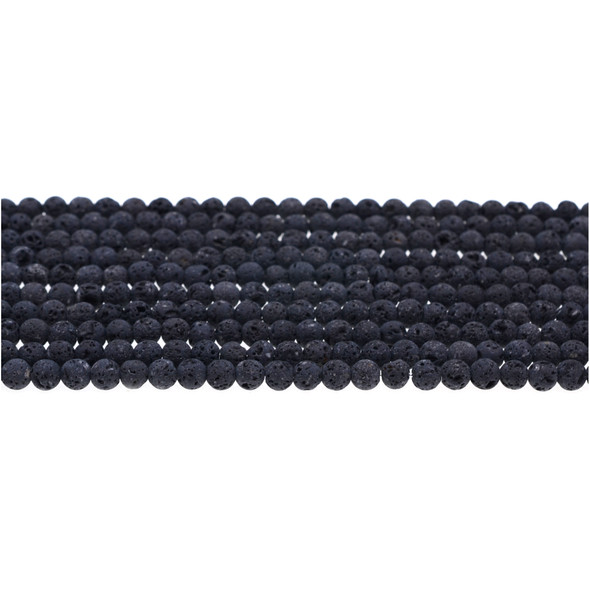Black Lava Round 4mm Matte Frosted (Unwaxed) - Loose Beads
