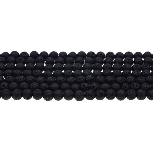 Black Lava Round 6mm - Loose Beads