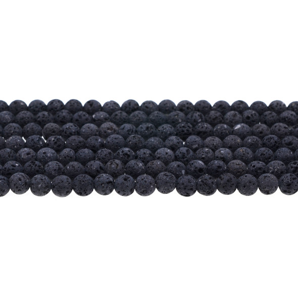 Black Lava Round 6mm Matte Frosted (Unwaxed) - Loose Beads