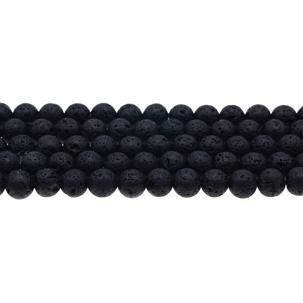 Black Lava Round 8mm - Loose Beads
