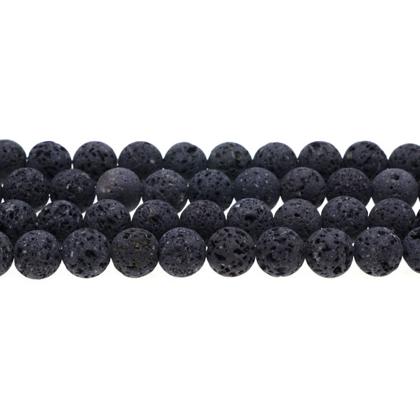Black Lava Round 10mm Matte Frosted (Unwaxed) - Loose Beads