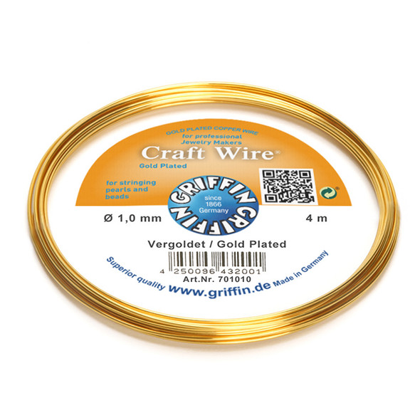 Craft Wire 24K gold plated 1,0mm; ring of 4m