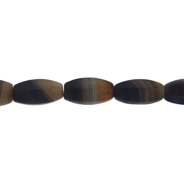 Brown Madagascar Agate Oval Corrugated Frosted 10mm x 10mm x 20mm - Loose Beads