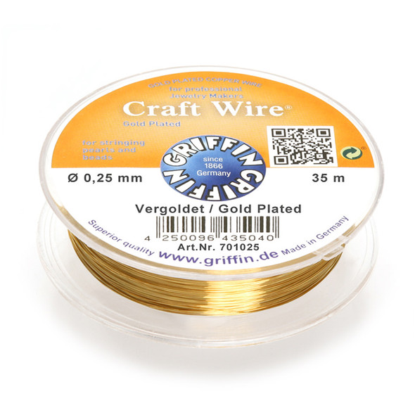 Craft Wire 24K gold plated 0,25mm; spool of 35m