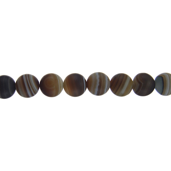 Brown Madagascar Agate Round Frosted 10mm - Loose Beads