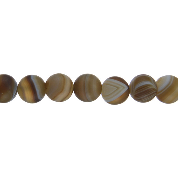 Brown Madagascar Agate Round Frosted 12mm - Loose Beads