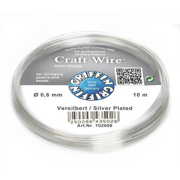 Craft Wire silver plated 0,6mm; ring of 10m