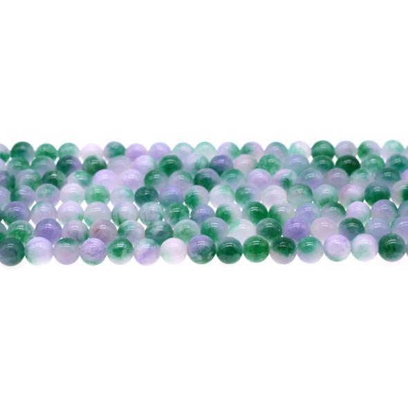 Multi-Colored Purple Green Jade Round 6mm - Loose Beads