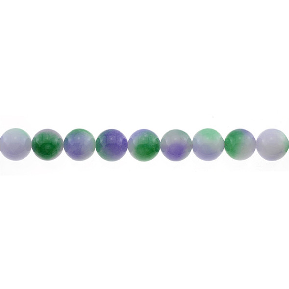 Multi-Colored Purple Green Jade Round 10mm - Loose Beads