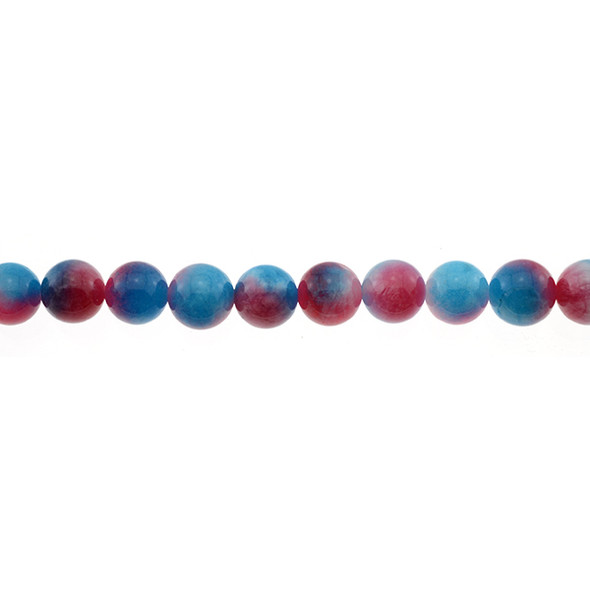 Multi-Colored Blue Red Jade Round 10mm - Loose Beads