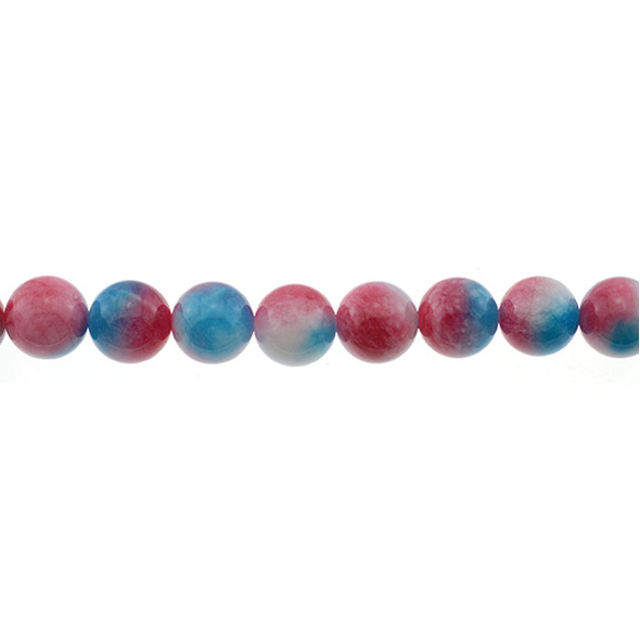 Multi-Colored Blue Red Jade Round 12mm - Loose Beads