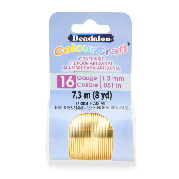 ColourCraft Wire, 16 Gauge (0.050 in, 1.30 mm), Gold Color, 7.3 m (8 yd) Spool