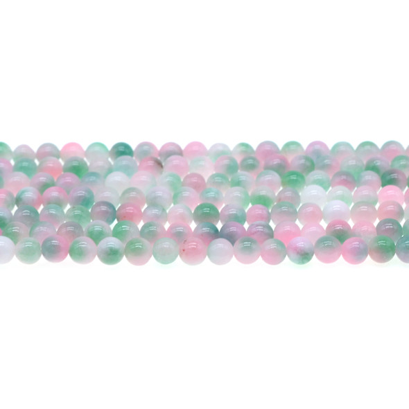 Multi-Colored Pink Green Jade Round 6mm - Loose Beads