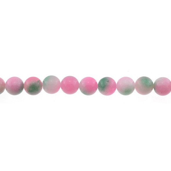Multi-Colored Pink Green Jade Round 10mm - Loose Beads