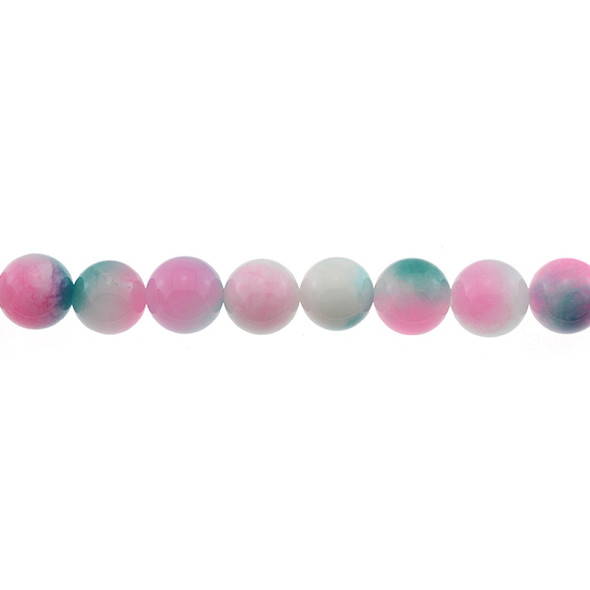 Multi-Colored Pink Green Jade Round 12mm - Loose Beads