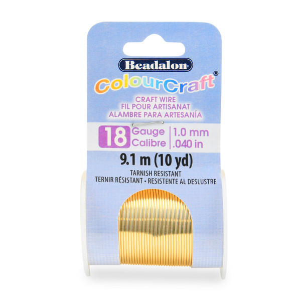 ColourCraft Wire, 18 Gauge (0.040 in, 1.02 mm), Gold Color, 9.1 m (10 yd) Spool