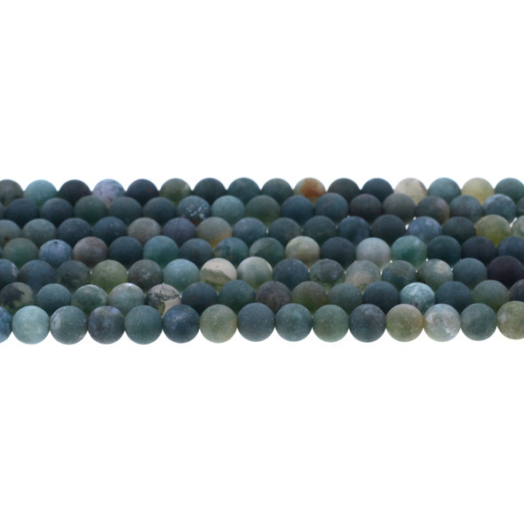 Moss Agate Round Frosted 6mm - Loose Beads